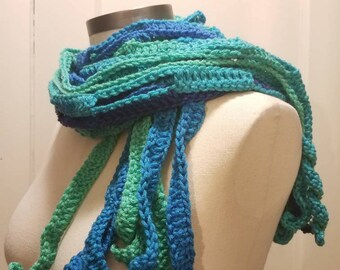 Shades of Blue crochet Mesh Scarf. Soft acrylic long scarf. Aqua, azule, navy, turquoise