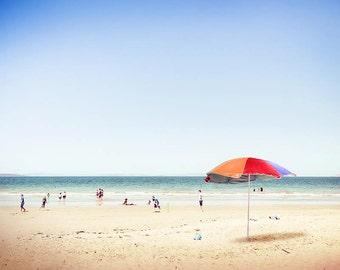 plage de décor mural nautique imprimer plage photographie art plage oeuvre décor côtier pépinière nautique art plage parapluie impression rouge orange lilas
