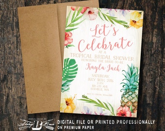 Tropical Bridal Shower Invitation | Pineapple Bridal Shower | Printed Invitation | Printable Digital File DIY | Tropical Shower