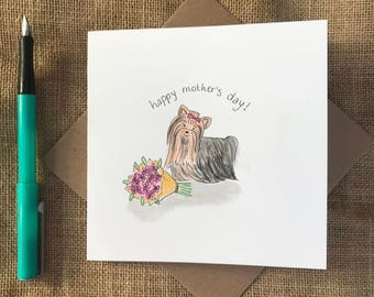 Hand painted yorkshire terrier mother's day card