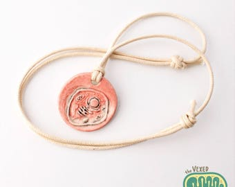 Eukaryotic cell pendant necklace with adjustable cotton cord, science jewelry