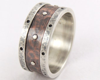 Wedding band ring - silver copper ring,unique man's ring,rustic wedding,men anniversary ring,mens engagement ring,mens wedding band,men ring