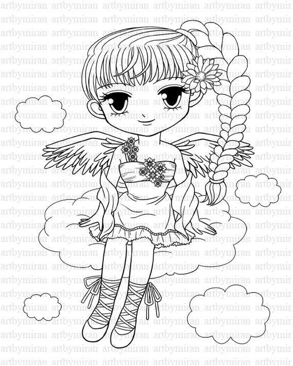 Digi stamp pretty girl angel coloring page big eyed girl for Big girl coloring pages