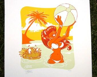 Creature Beach - Screen Print by Steve Chanks
