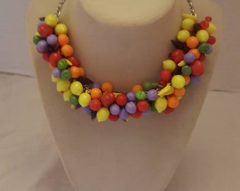 Fruit Salad Necklace Fruit Necklace Multicolored Necklace One Of A Kind Necklace Statement Necklace Chunky Necklace Bib Necklace SByourself
