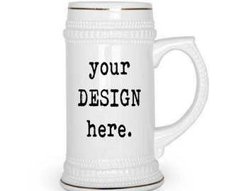 CUSTOM Beer stein, 22oz, Design your own, Family Crest, personalized beer, Logo, Retirement, Promotion, Boss, Wedding, Sorority, Fraternity