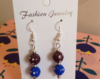 Blue, chocolate and silver dot bead earrings