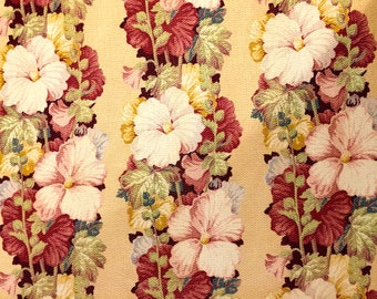 "Spectacular 30s Hollyhock Design Barkcloth by Puritan// Hollywood Regency Era// Cotton Yardage// Upholstery// Home Decor// 2 Panels 44""x 88"""