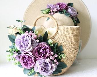 Vintage handmade flowers beach straw bag idyllic vacation hand woven bag, Japan and South Korea the cane straw bag