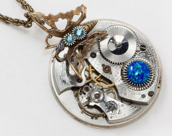 Steampunk Necklace, Butterfly Necklace with Vintage Waltham Silver Pocket Watch, Opal, Blue Topaz Crystal & Flower Engraving, Jewelry Gift