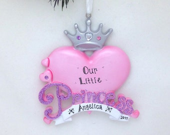 Princess Personalized Christmas Ornament / Princess Heart and Crown / Little Princess / Personalized Christmas Ornament