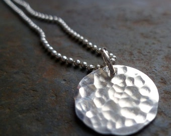 PETITE WATER hammered recycled sterling silver pendant necklace