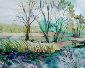 Original Watercolor painting, Watercolor Landscape,Original Watercolor Painting,home decor artwork,watercolor landscape