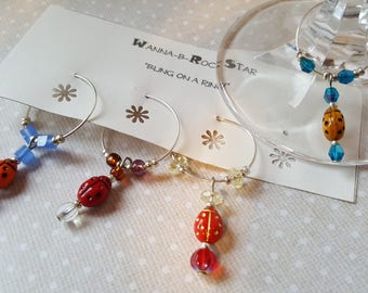 LADY BUGS - Garden Theme - Quad Set - Limited Set -  Wine Charms or Drink Tags