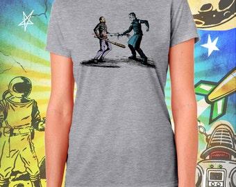 Game of Thrones / Walking Dead / The Nights King Picks Walking Dead's Negan / Women's Zombie Gray Performance T-Shirt