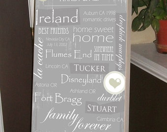 Personalized Wedding Gift, Parents Gift, Anniversary Gift, Christmas Gift, Housewarming Gift, 12 x 20 Typography Personalized Gift, Sign
