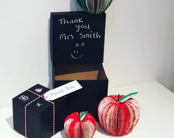 Book Apples with chalkboard gift box