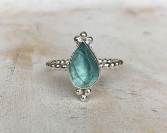 Apatite Ring - Rough Natural Stone surrounded by Silver Drops on a Sterling Silver Band