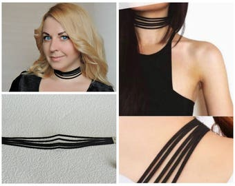 Choker from artificial suede - Five strips