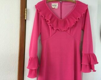 Vintage pink Dress Frilly Dress bzzz bzzz Long Dress Mod pink dress