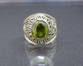 Vintage Sterling Silver Peridot 1975 High School Men's Ring Size 11