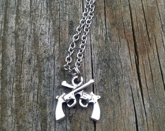 Crossed Pistol Necklace Double Gun Necklace Revolver necklace crossed gun country girl necklace huntress necklace pistol cowgirl gunpowder