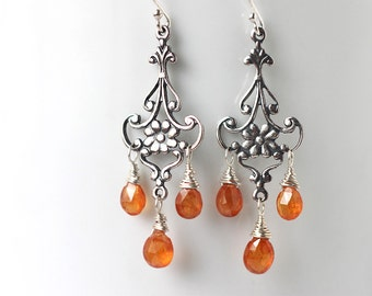 Orange Garnet Chandelier Earrings, Sterling Silver January Birthstone, Gemstone Jewelry