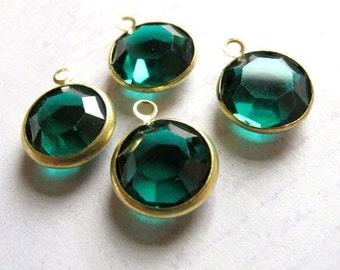 Vintage Emerald Green Swarovski Crystal Rhinestone Channel Charms (14mm) (4X) (S515)