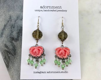Floral and crystal earrings with Sterling Silver 925 Earring Hooks