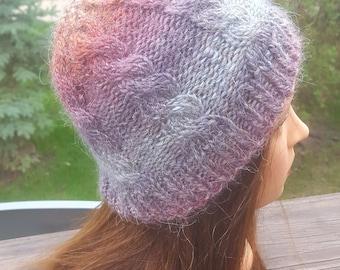 Winter Sunset hand knit beanie hat alpaca wool blend cable winter fall autumn