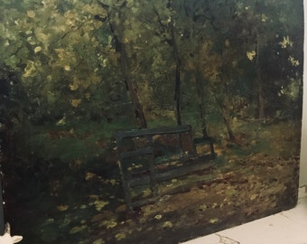 Antique French Oil on Board, shabby oil painting