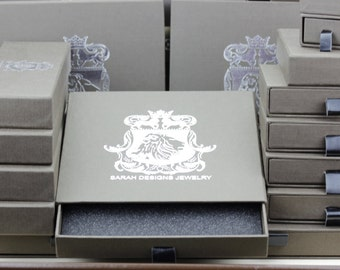 Anti-Tarnish Fine Luxury Textured Drawer Box Leatherette Pull-Out Layered with Inner Foam Padding Silver Foil Lion Insignia
