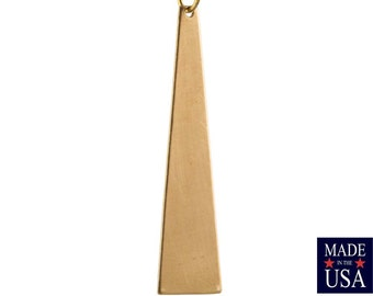 Raw Brass Triangle Pendant Findings LG (4) mtl127F