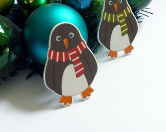 Penguin brooch, illustrated penguin pin badge, cute animal jewellery, penguin gift