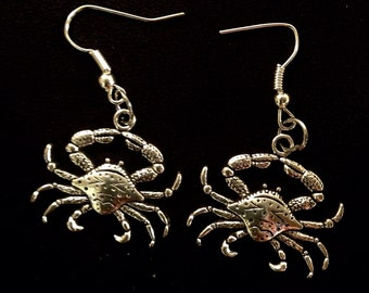 Silver Crab Earrings