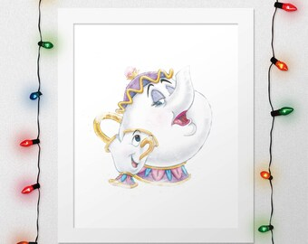 CHIP MRS POTTS, Disney Chip Mrs Potts, Beauty And The Beast, Chip And Mrs Potts, Beauty Beast Watercolor, Disney Nursery, Digital Print