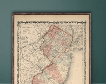 "Map of New Jersey 1862, Vintage New Jersey map reprint - 4 sizes up to 36""x48""- in original or blue or black and white"