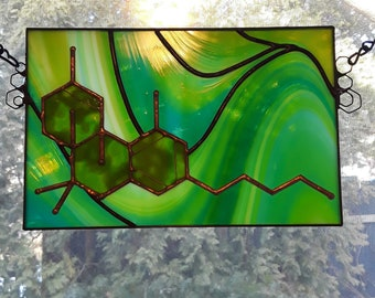 THC Molecule - Stained Glass Panel