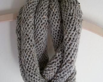 Gray tweed knit cowl