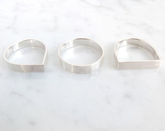 set of three simple silver rings, basic silver rings, pure jewelry, minimalistic stackable rings