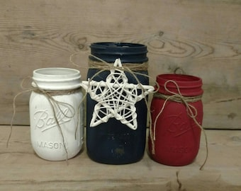 4th of July Decorations, Painted Mason Jar, 4th of July Decor, Mason Jar Set, 4th of July, Table Centerpiece, Rustic Centerpiece