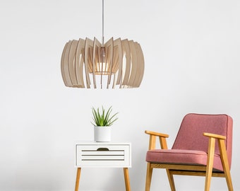 wood pendant light- modern plywood pendant light - wooden hanging chandelier - contemporary lighting - dining lamp Yoko