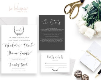 Printable Wedding Invitation Suite / Wedding Invite Set - The Madeline Suite