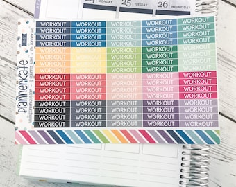M-37 || WORKOUT Header Label Stickers for Planner (80 Removable Matte Stickers)