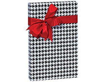 Black and White Houndstooth  Gift Wrap Wrapping Paper-18ft Roll w. 20Gift Tags
