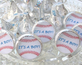 Baseball Sports Baby Shower Its A Boy Party Favors Stickers Hershey Kiss Labels, Gender Reveal Party, Baby Shower Favors, Boy Baby Shower