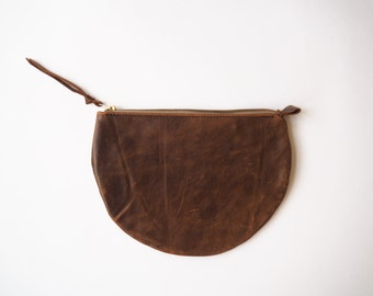 Leather Pouch Clutch Wallet Women's Bag - Womens Purse - Women's Clutch - Women's Pouch - Simple - Everyday - Functional - Fun - Half Circle