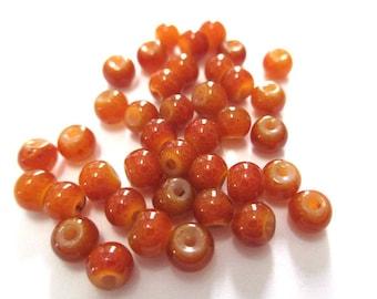 20 beads caramel glass imitation jade 4mm (A-31)