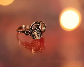 Copper Wire Wrap Ring Clear Double Czech Glass Copper Core Beads Size 7 Ring Copper Jewelry Dancing Wire Loops Fun Freeform Boho Wire Ring