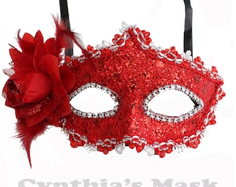 Red Floral Mask w/Rhinestones and Glitter for Costume Masquerade Ball Dancing  SKU: BZ627A (7N21)